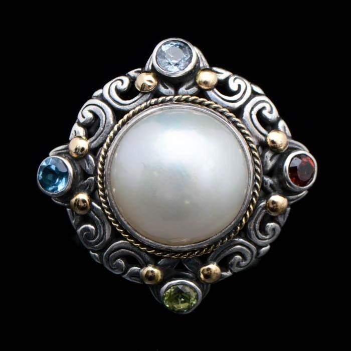 Robert Manse Sterling Silver, 18K Gold, Multi Semi-Precious Gemstones and Pearl Ring