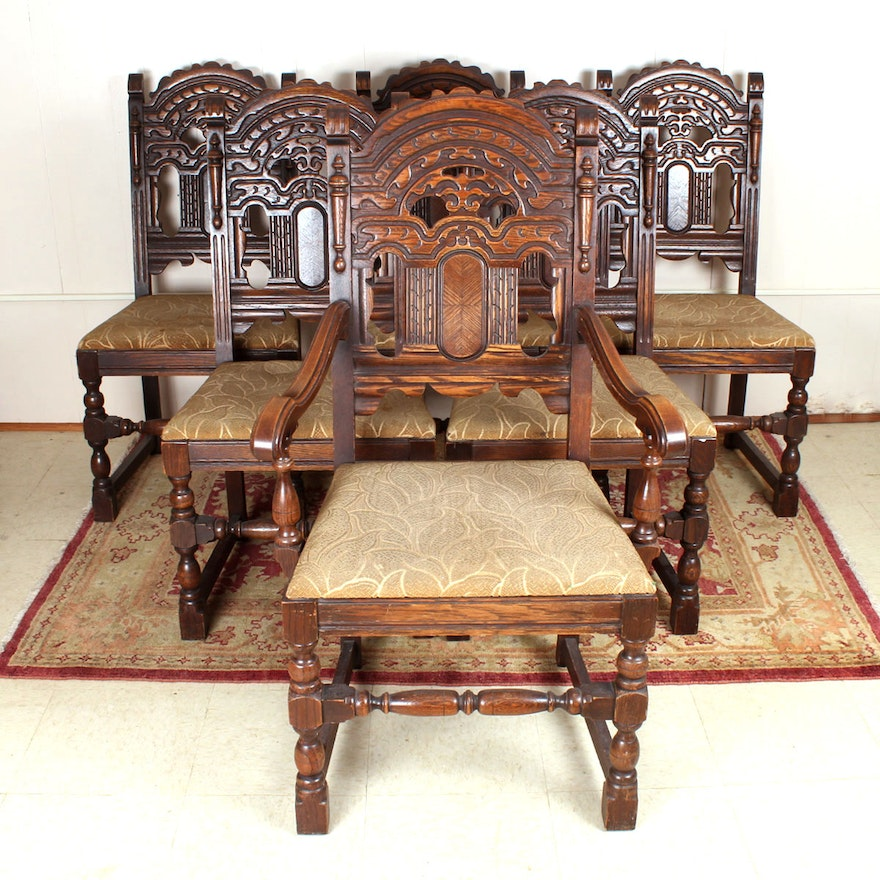 Set Of Six Gothic Revival Dining Room Chairs