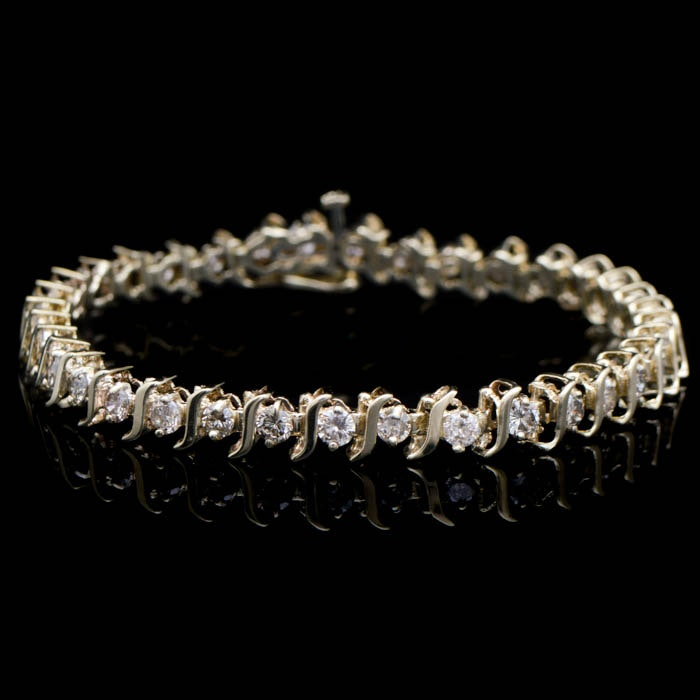 3.00 CTW Diamond and 10K Yellow Gold  S-Link Tennis Bracelet