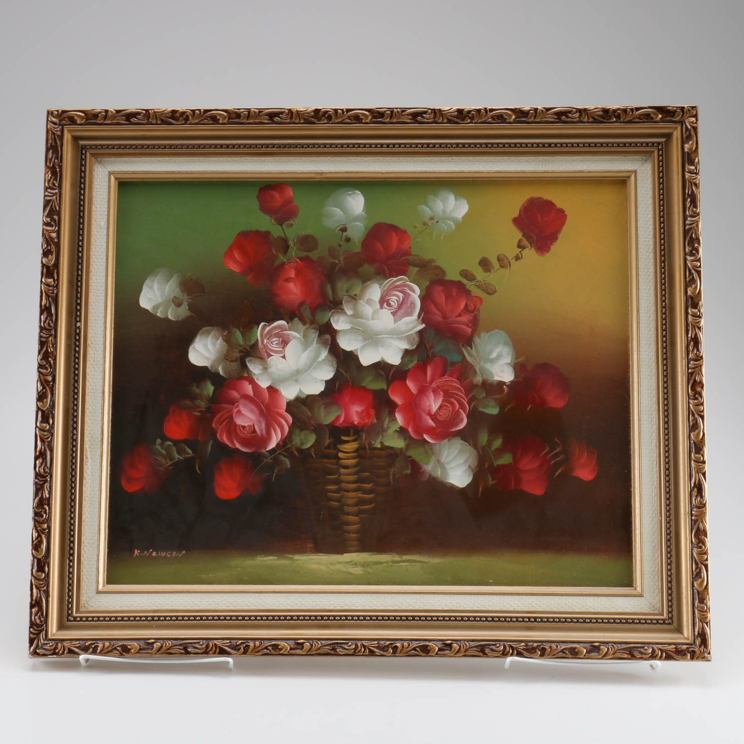 K. Newson Oil Painting Basket of Roses