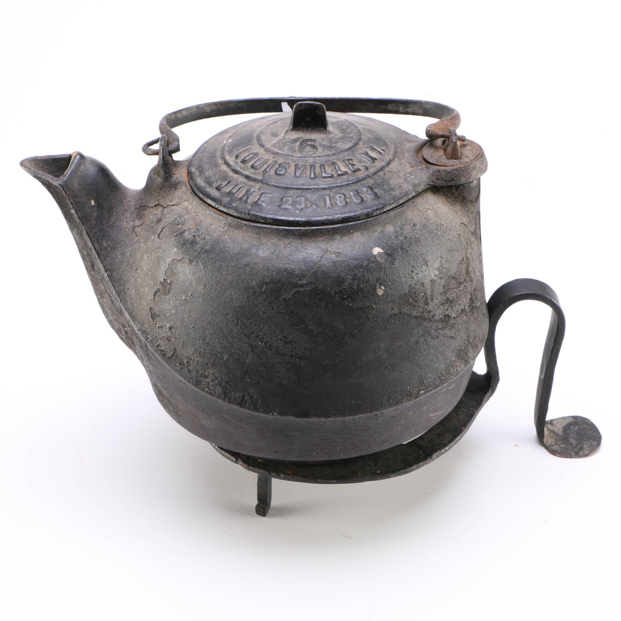 Antique Cast Iron Kettle on Stand