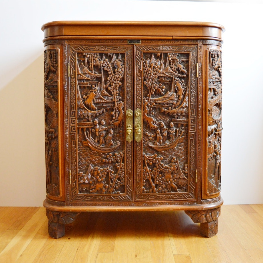 Vintage Chinese Carved Mahogany Cabinet Bar