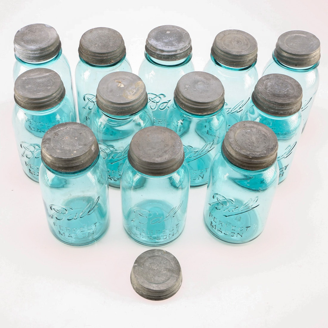 Collection of Vintage Blue Ball Mason Jars