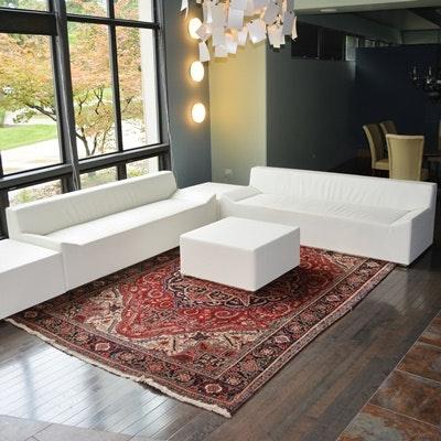 Blu Dot White Leather Alternative Modern Living Room Set