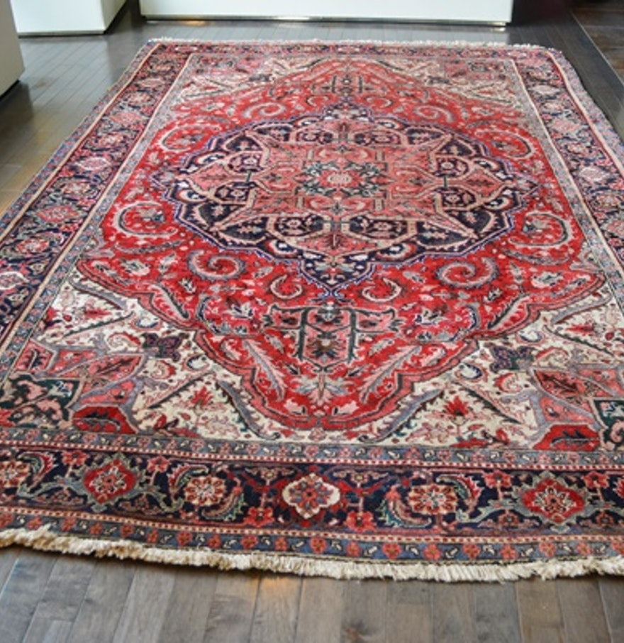 Persian Hand Knotted Kashan Silk And Wool Area Rug Ebth: Hand-Knotted Wool Heriz Serapi Area Rug : EBTH
