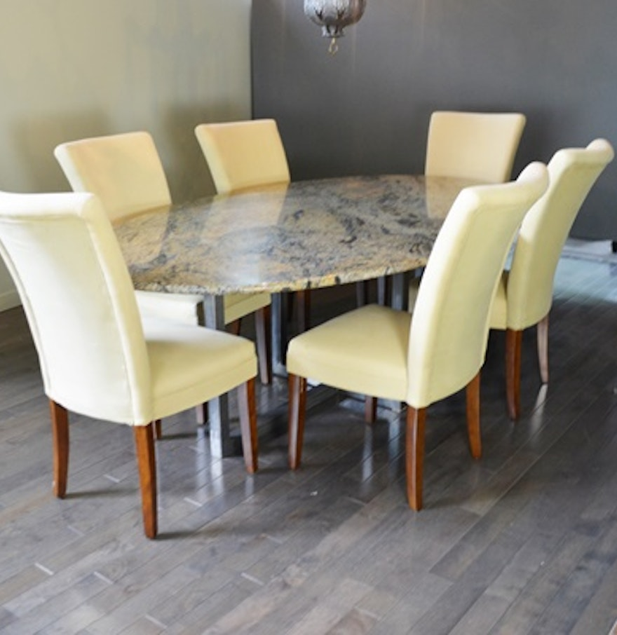 Granite Dining Table Set: Oval Granite Top Dining Table And Six Beige Chairs : EBTH