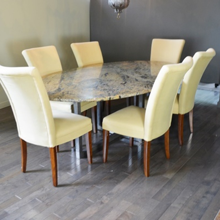 Accent Chair On Ends Of Oval Dining Table: Oval Granite Top Dining Table And Six Beige Chairs