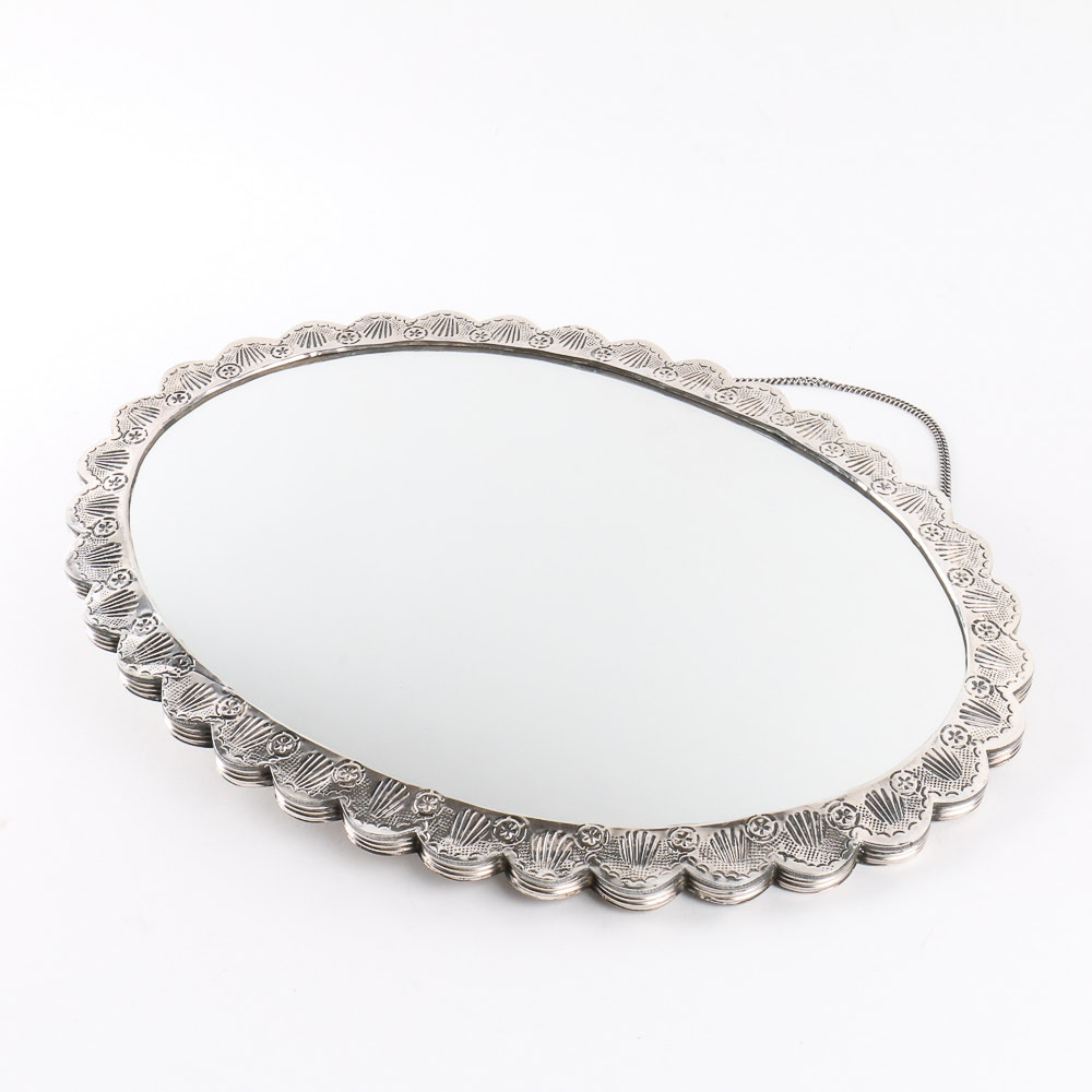 Turkish 900 Silver Hanging Mirror with Chain