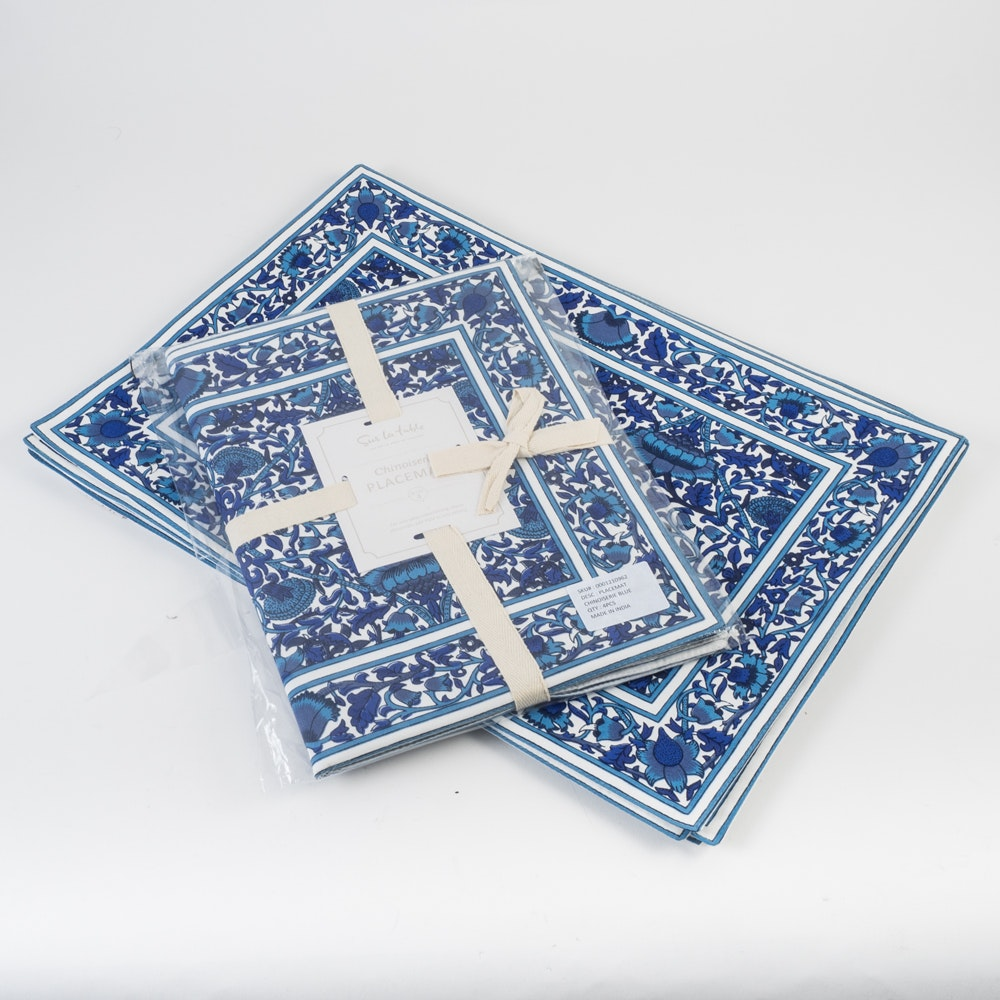 Set of Sur La Table Blue Chinoiserie Placemats