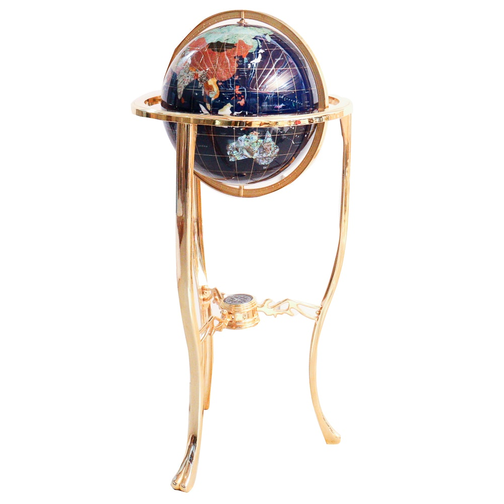 Gemstone Globe with Compass and Brass Tripod Stand