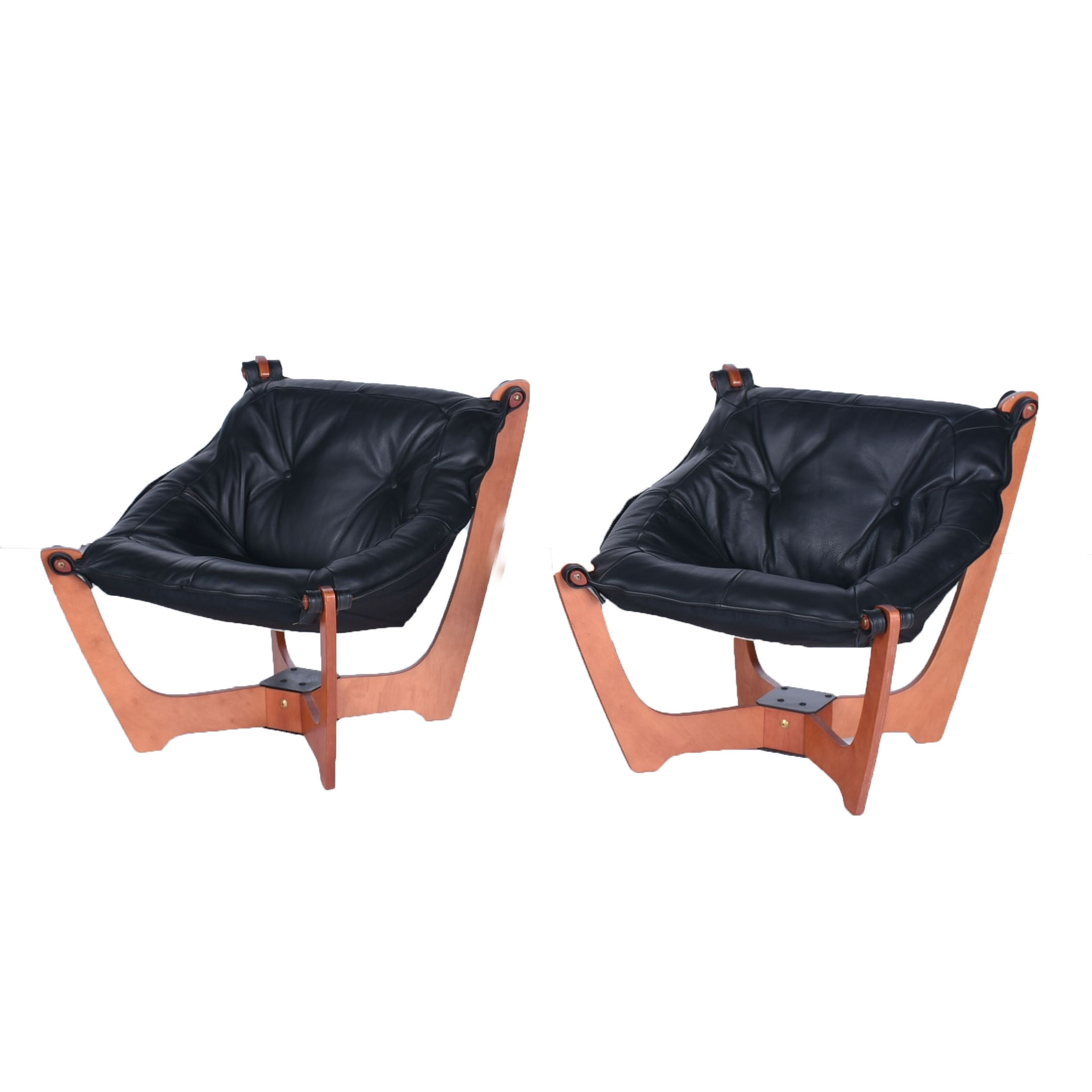 Beau Pair Of Mid Century Modern Style Luna Sling Chairs ...