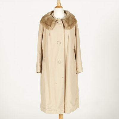 Vintage Duster Coat with Fur Collar