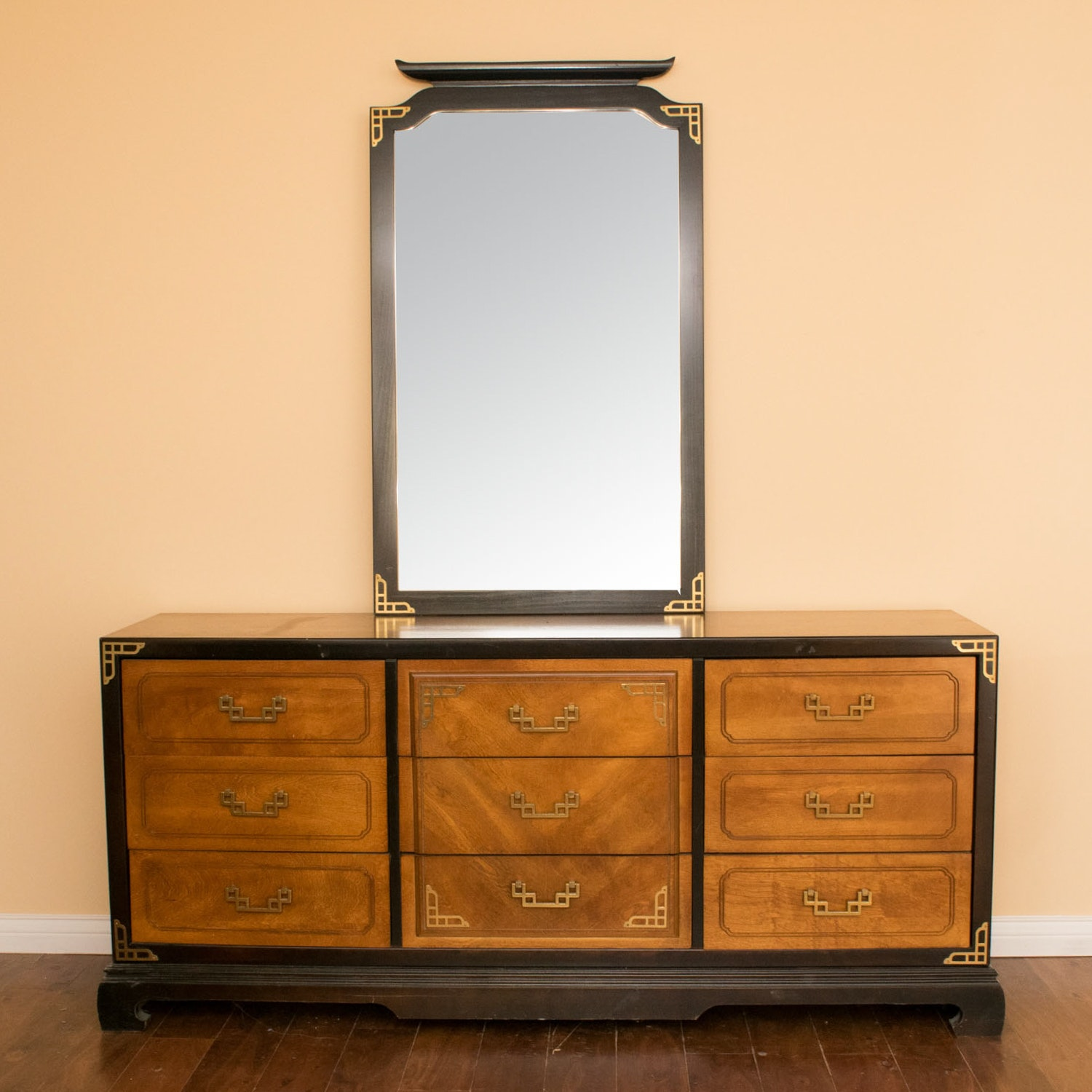 Vintage Bassett Furniture Dresser And Mirror ...