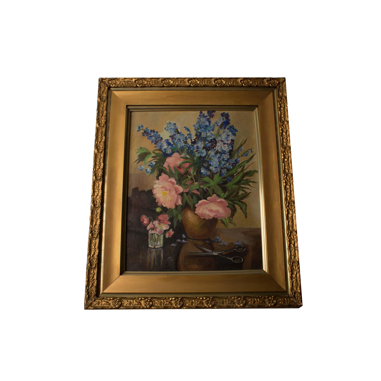 Framed Flower Arrangment Oil Painting
