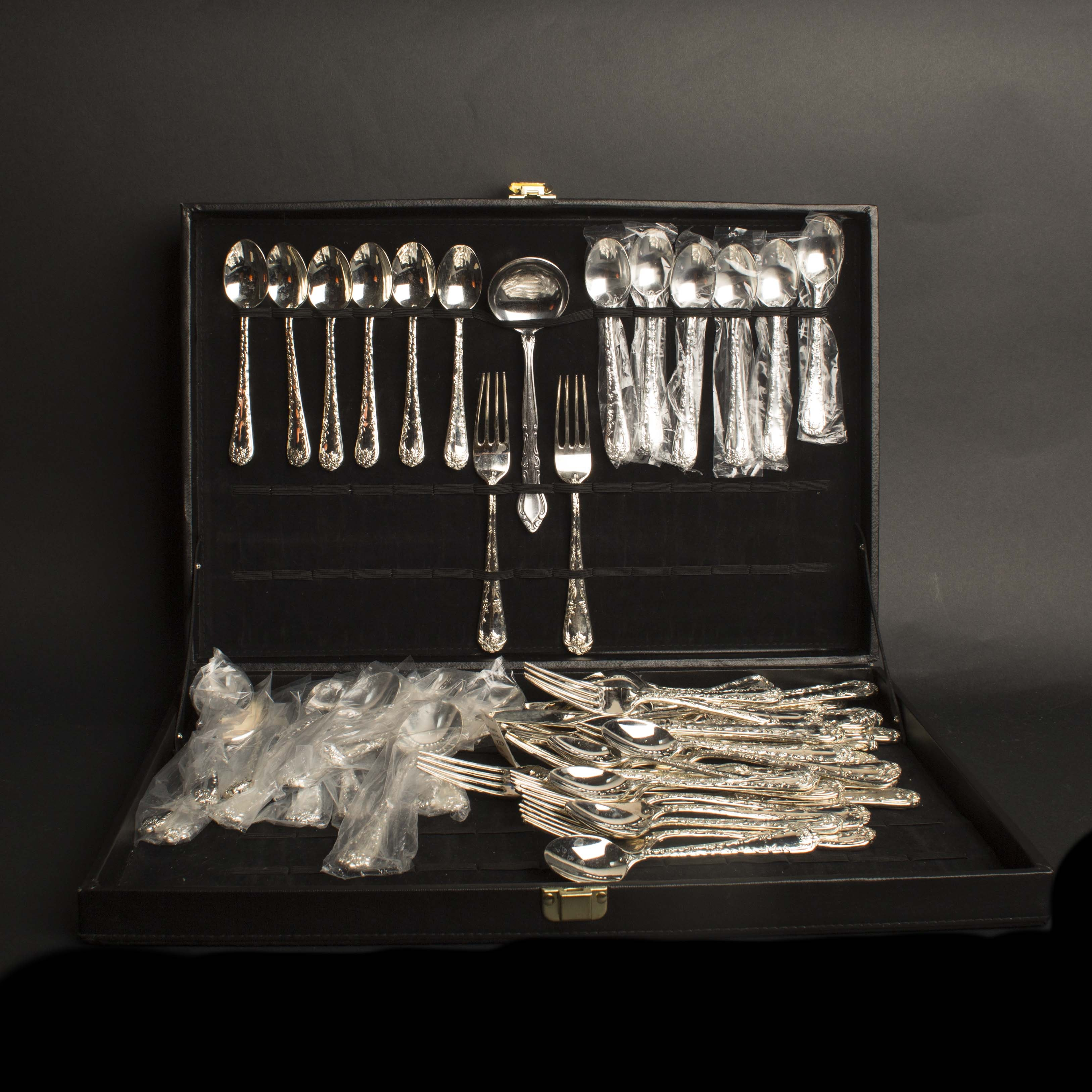W. M. Rogers Silver Plated Flatware Set in Case