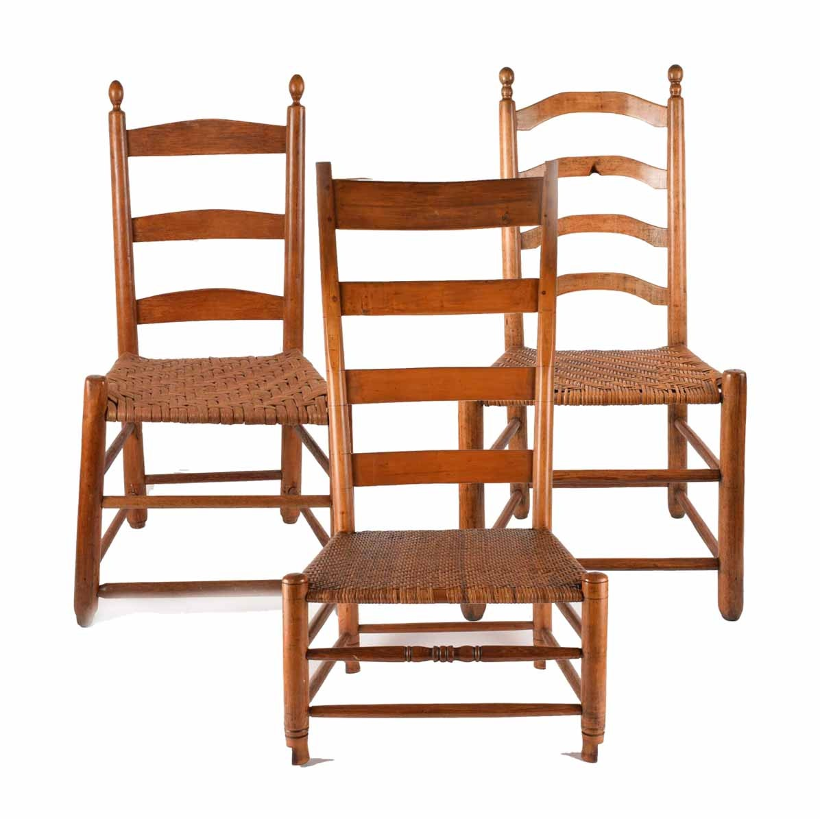 Three Antique Ladder Back Chairs With Woven Seats