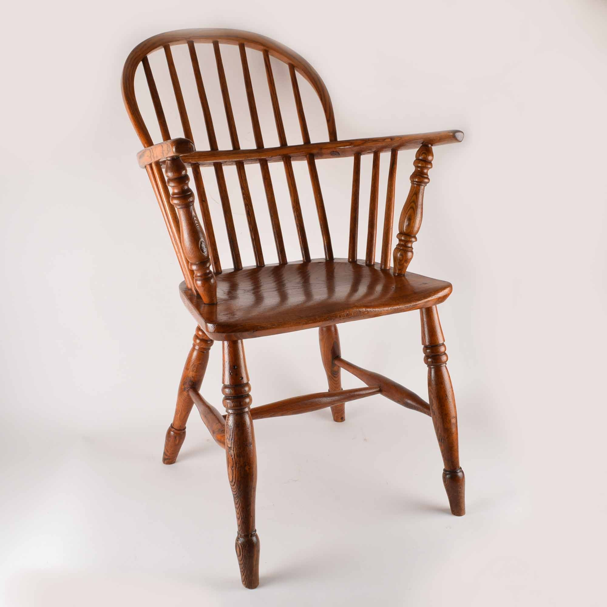 Antique Ash Sack Back Windsor Arm Chair