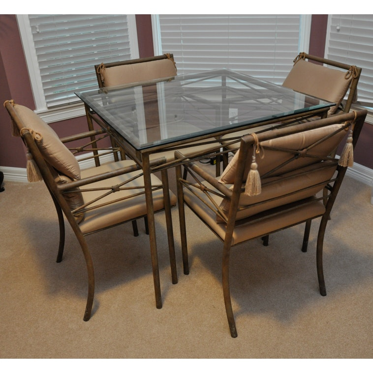 Iron and Glass Top Patio Table