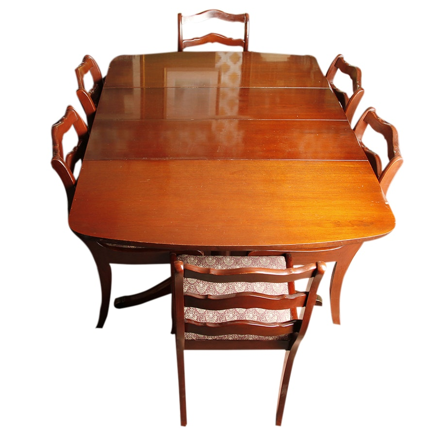 Duncan Phyfe Style Drop Leaf Mahogany Dining Table And Chairs EBTH