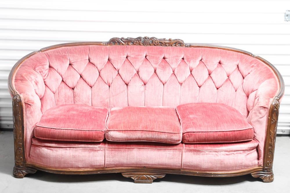 Art Deco Pink Velvet 1930u0027s Vintage Sofa ...