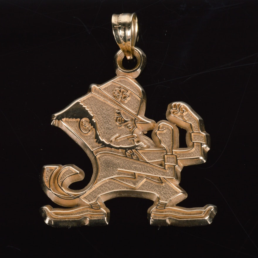14k solid gold notre dame fighting irish pendant ebth 14k solid gold notre dame fighting irish pendant aloadofball Choice Image