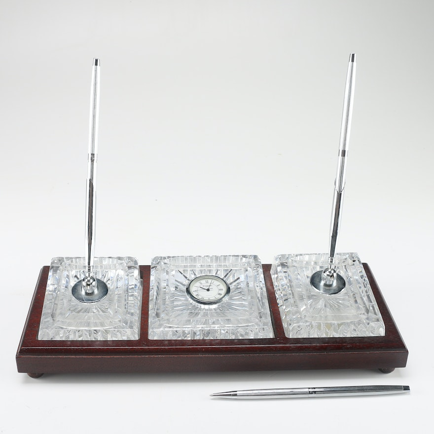 Waterford Crystal Pen And Clock Desk Set