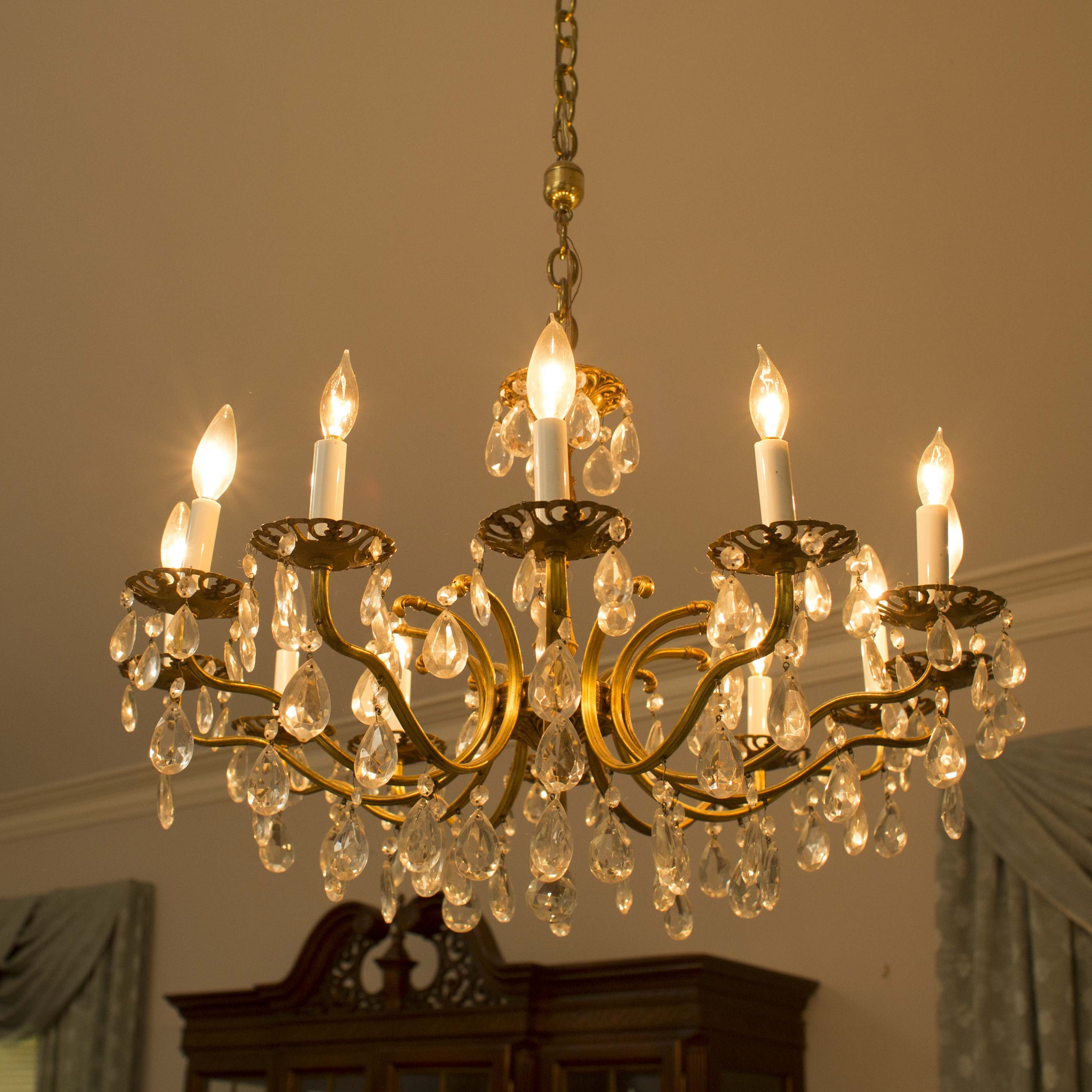 Vintage Brass and Cut Glass Chandelier