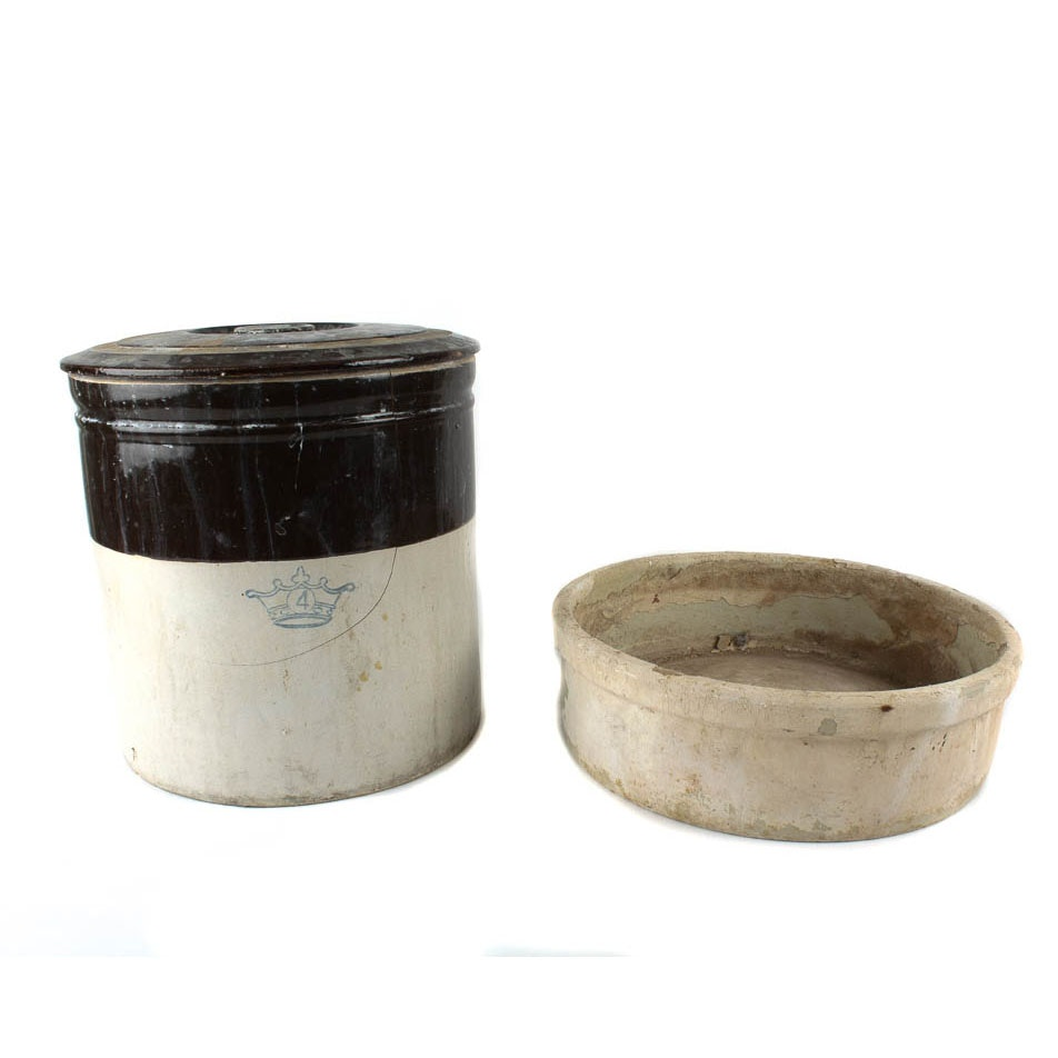 Antique Ransbottom Crock and Pacific Crock