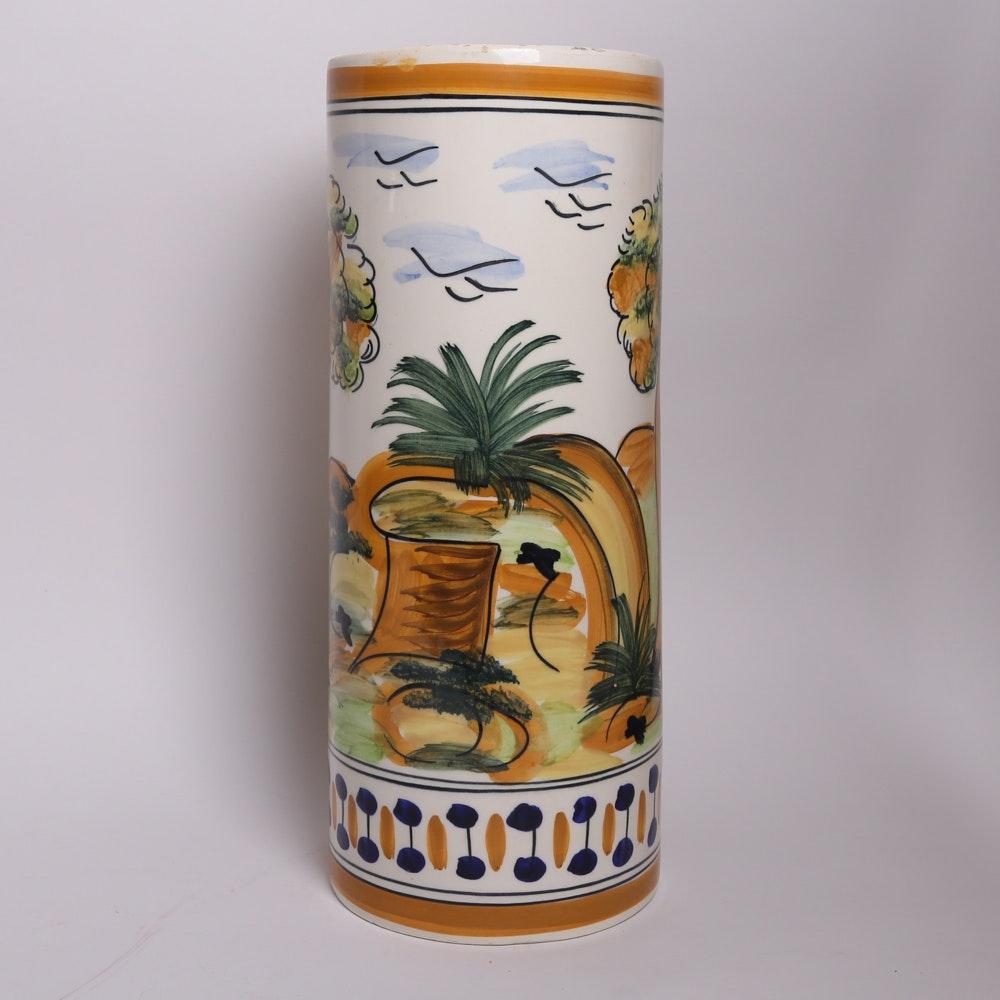 spanish ceramic umbrella holder : ebth Ceramic Umbrella Holder