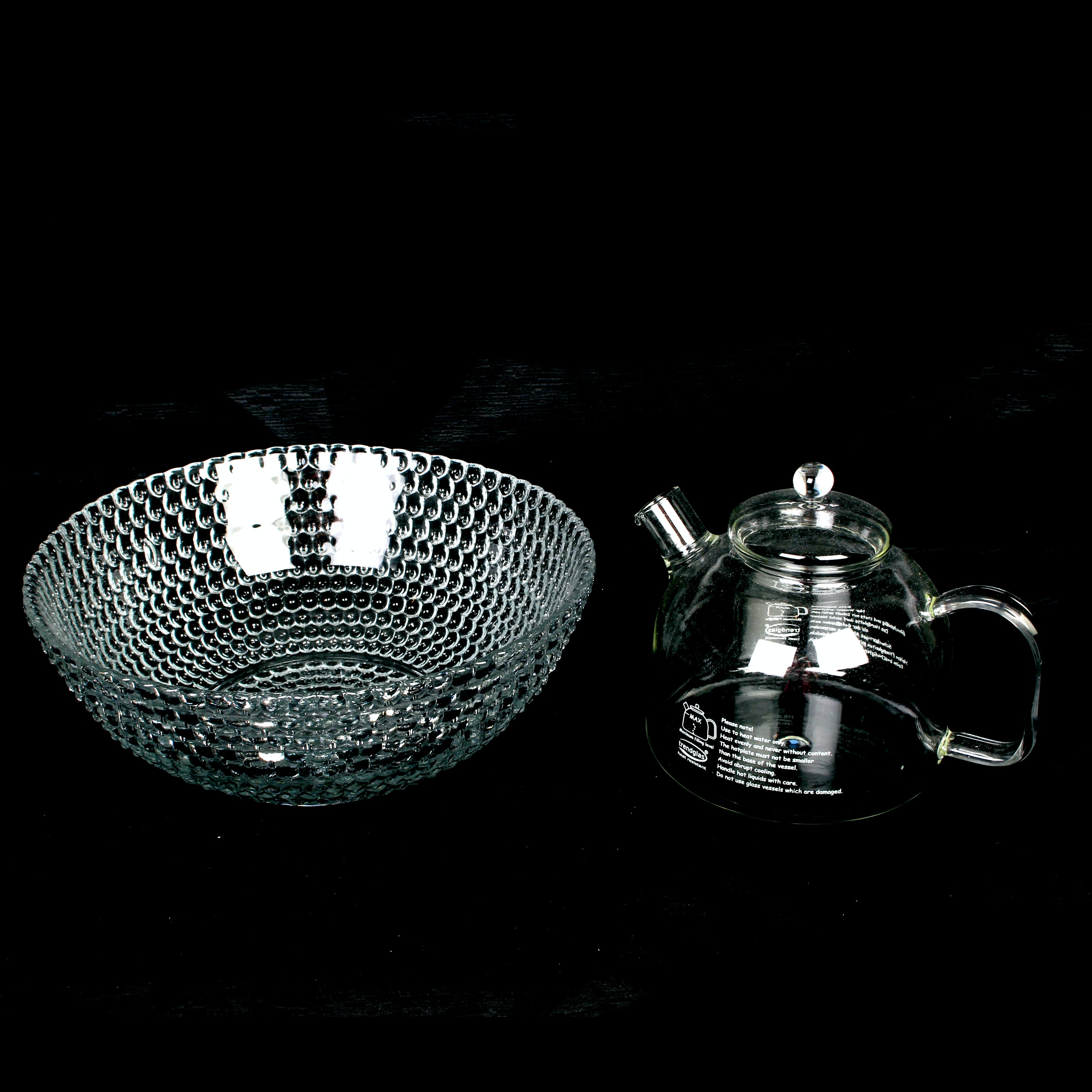 German Glass Tea Kettle and Pearled Glass Bowl