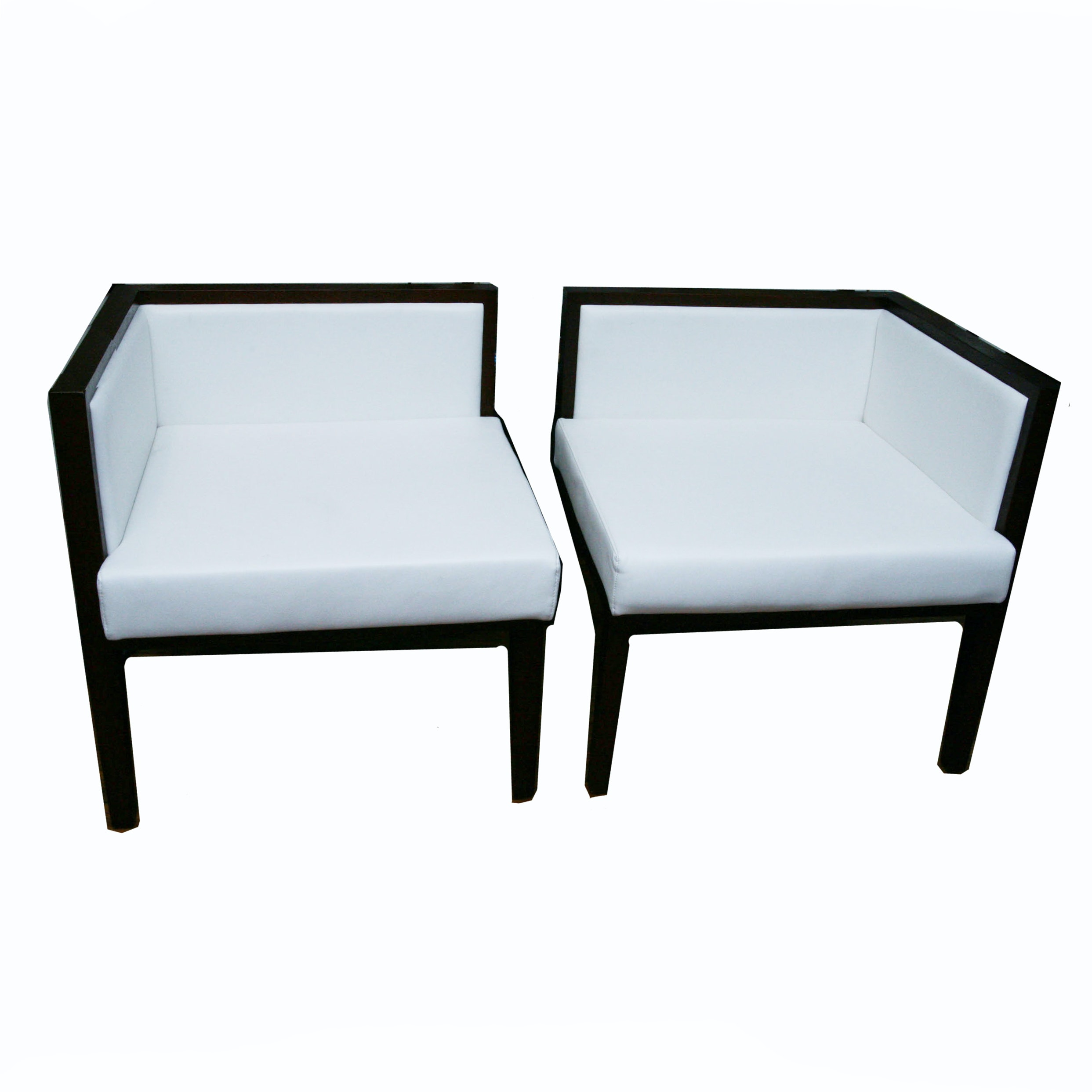 Pair of Modular Corner Chairs in White Leather