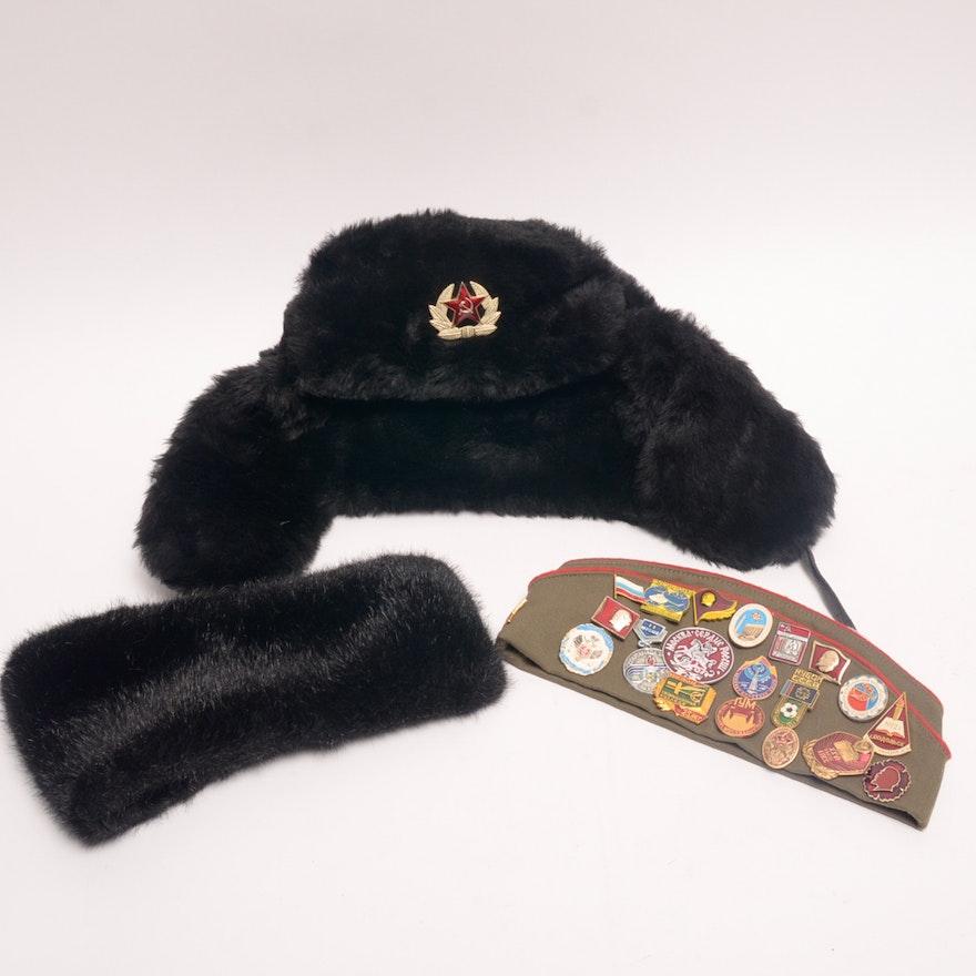 da99517bbc49a Black Ushanka Hat and Beret with Soviet Era Enamel Pins   EBTH