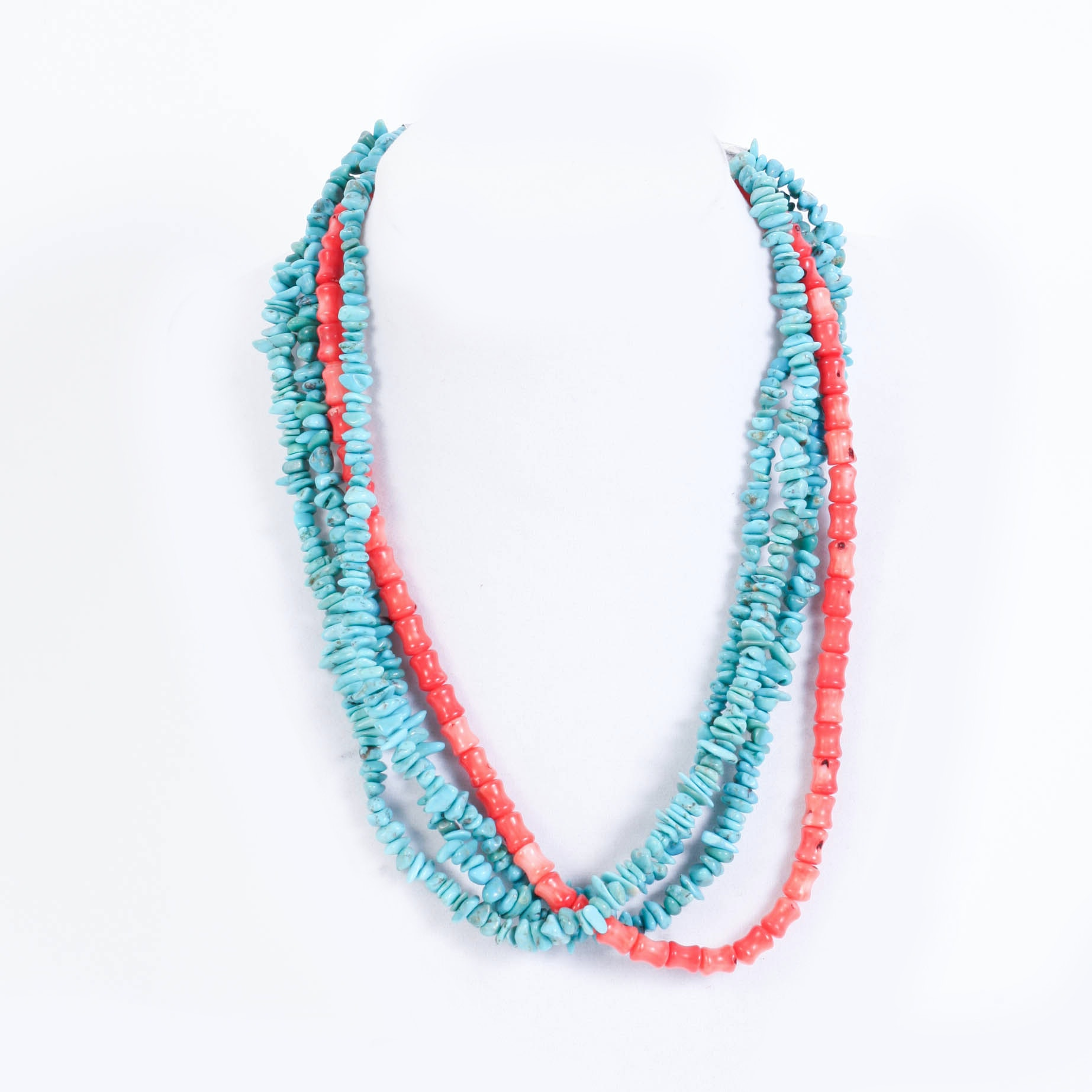 turquoise and coral four strand necklace ebth