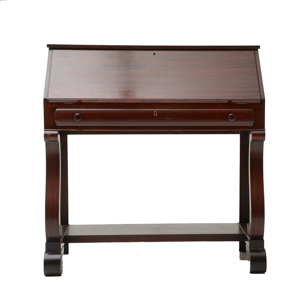 Empire Style Mahogany Veneer Slant Top Secretary Desk - WVXU
