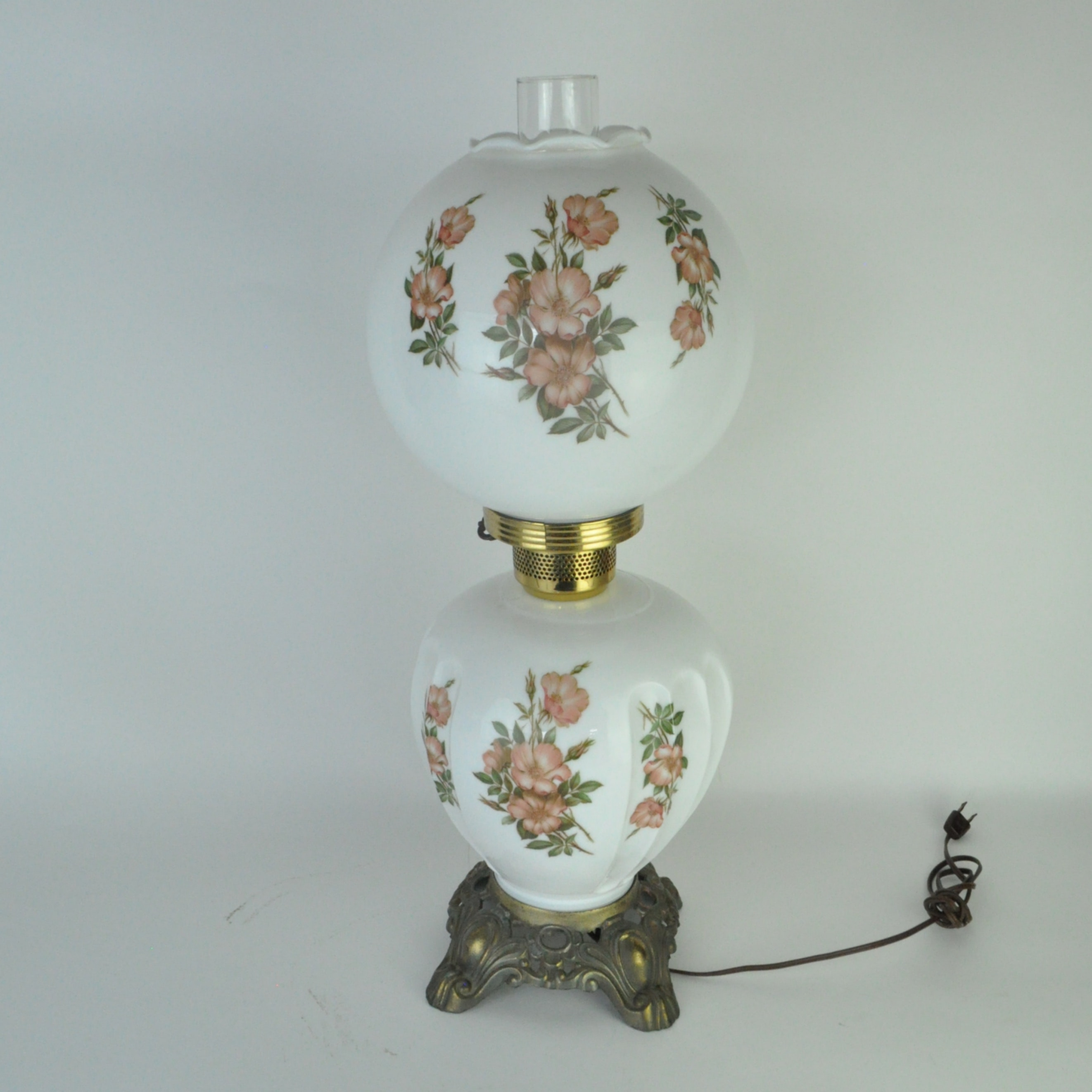 Converted Oil Globe Lamp with Floral Design