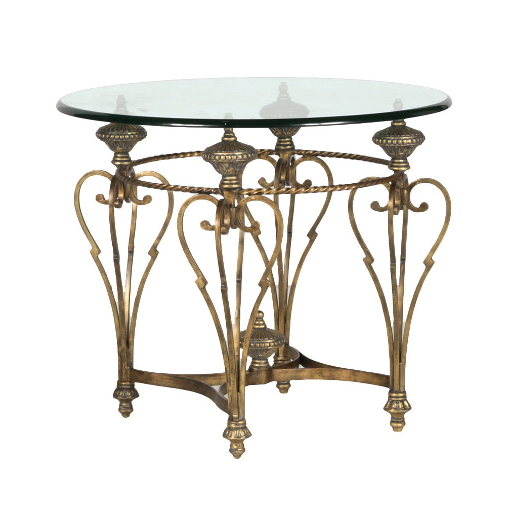Glass Topped Ornate Brass Side Table