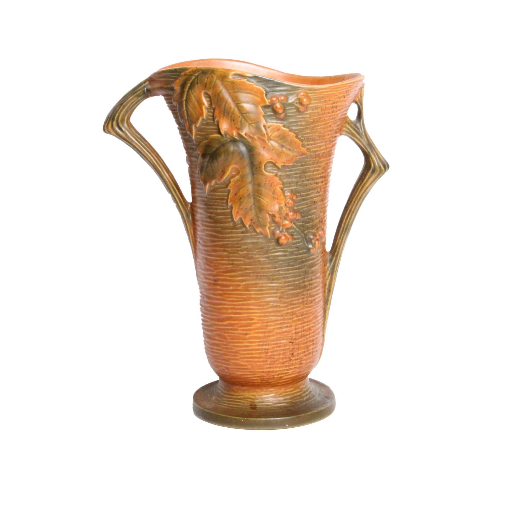 """Roseville """"Bushberry"""" in Russet Vase"""