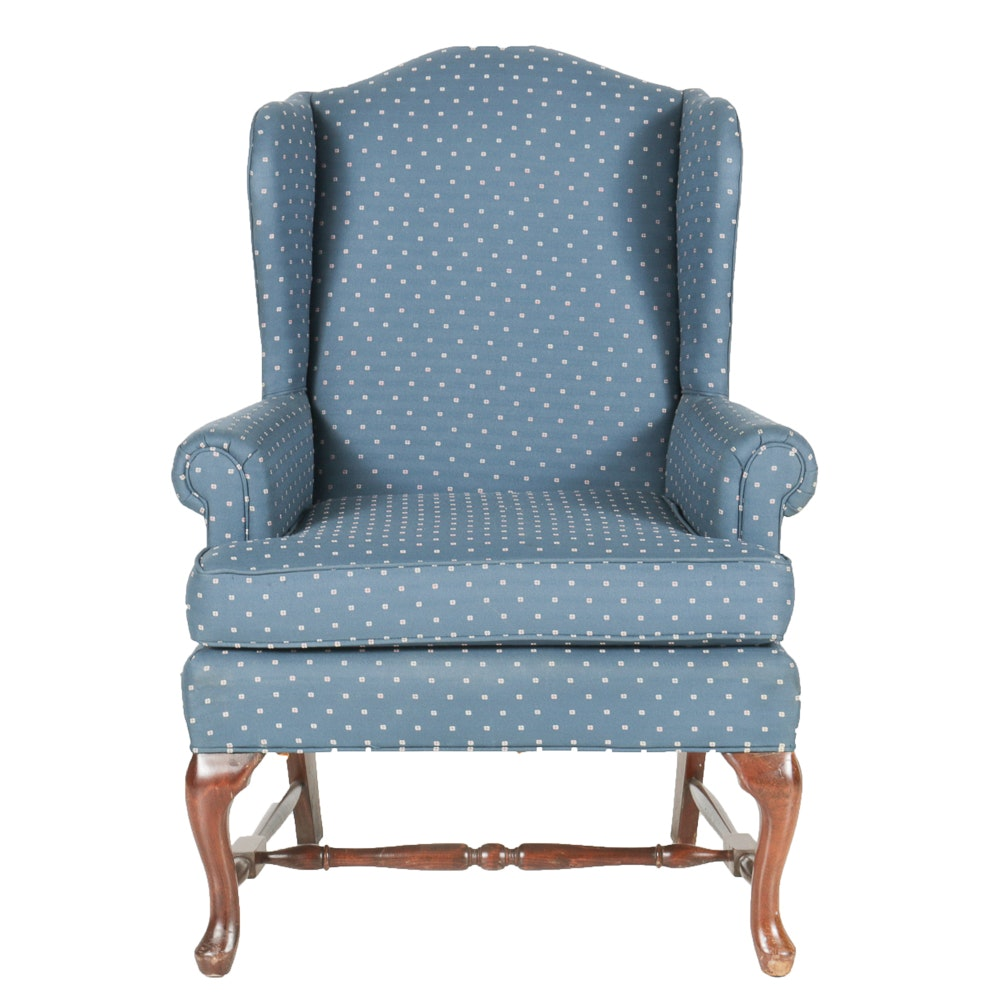 Blue Upholstered Wingback Fairfield Chair ...