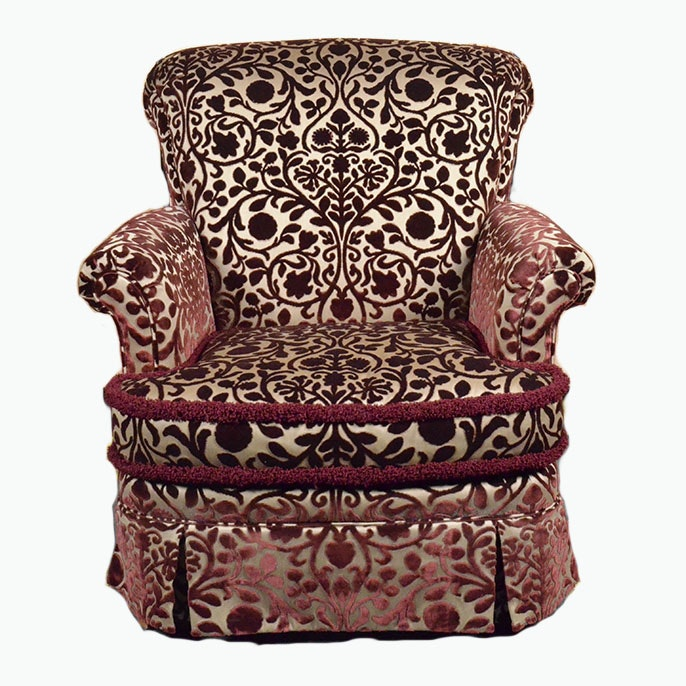 Upholstered Floral De Masque Pattern Arm Chair