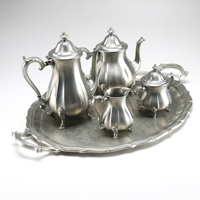 Silver Plated Tray and Pewter Tea Set
