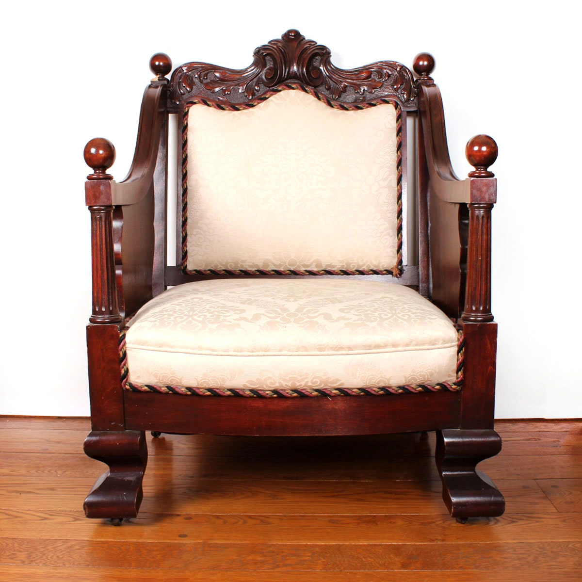 Carved Walnut Empire Armchair