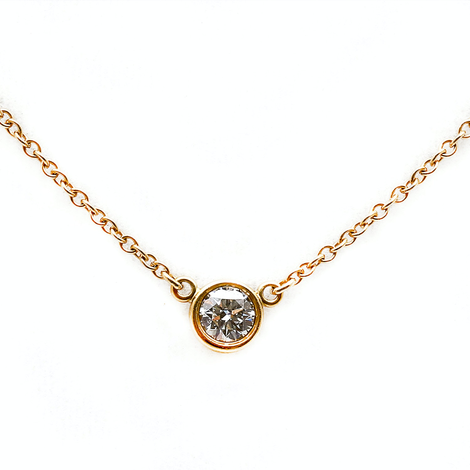 18K Tiffany & Co. Yellow Gold Diamond Solitaire Pendant Necklace