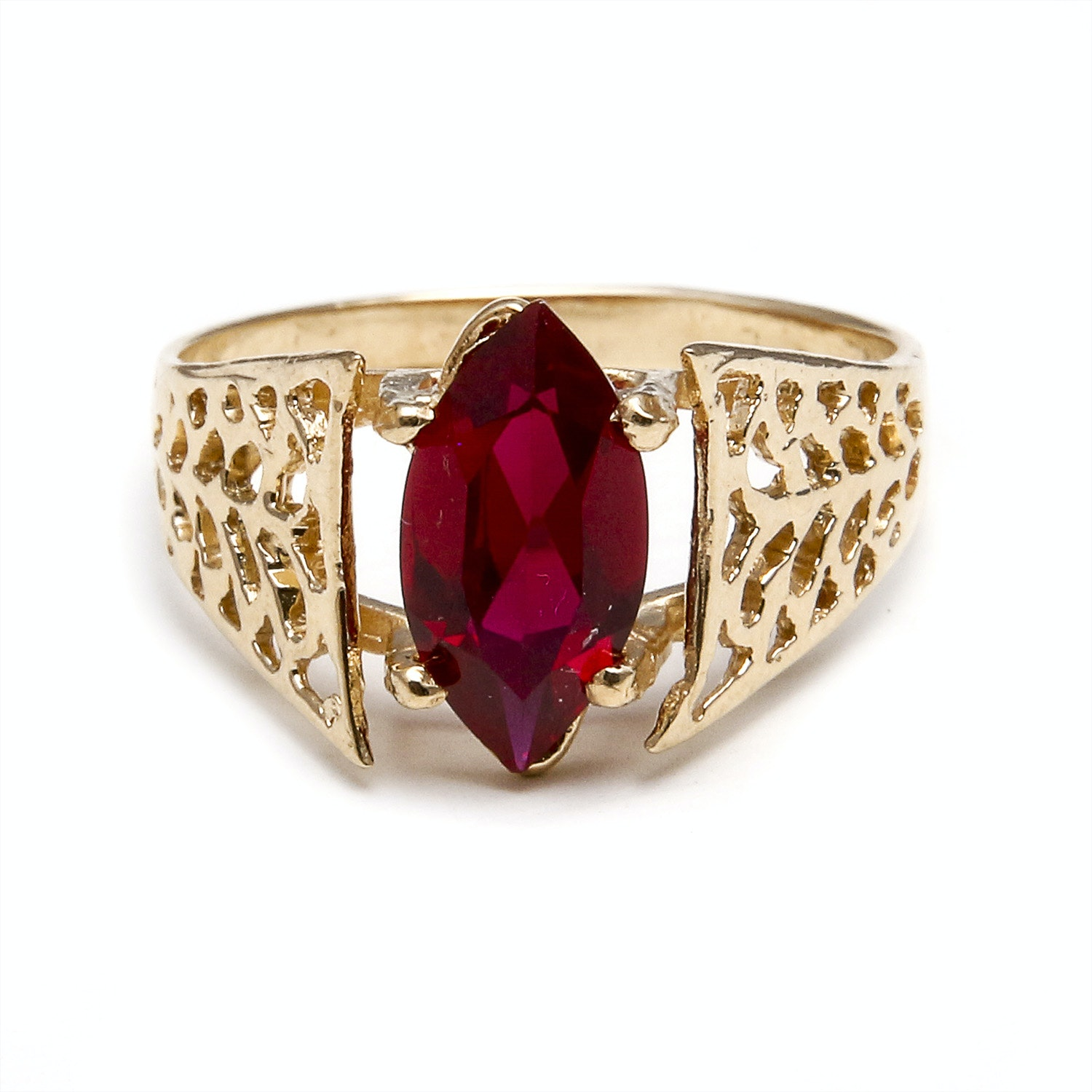 14K Yellow Gold Synthetic Ruby Ring