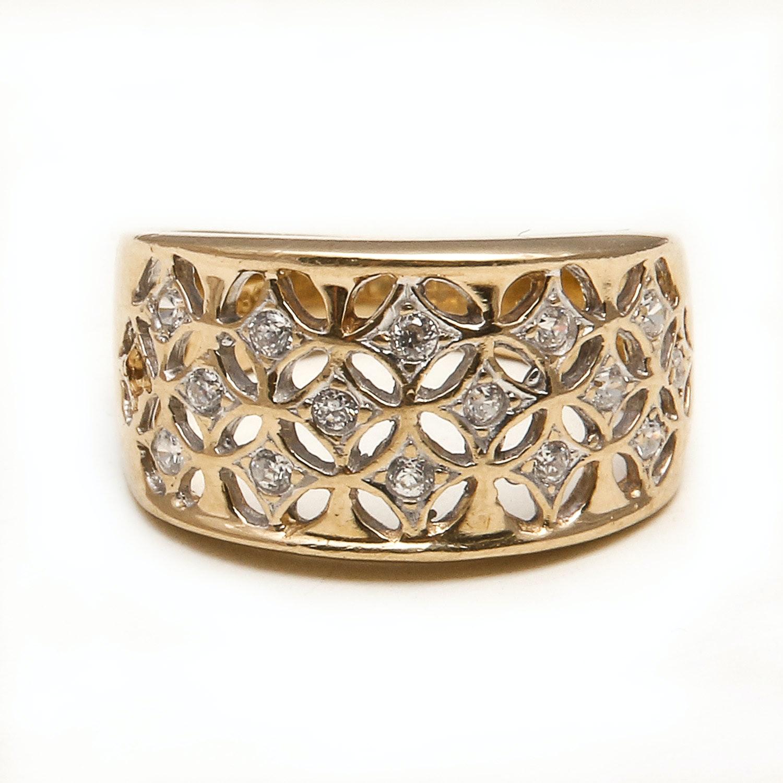14k yellow gold cubic zirconia ring ebth