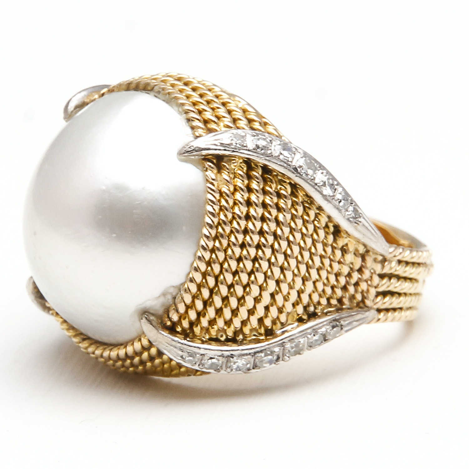 14K Yellow and White Gold Diamond Mabe Pearl Ring