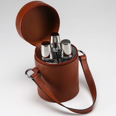 Bey Berk Triple Liquor Flask with Leather Case