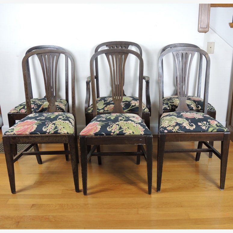 Vintage Robert Mitchell Walnut Dining Chairs Set ...