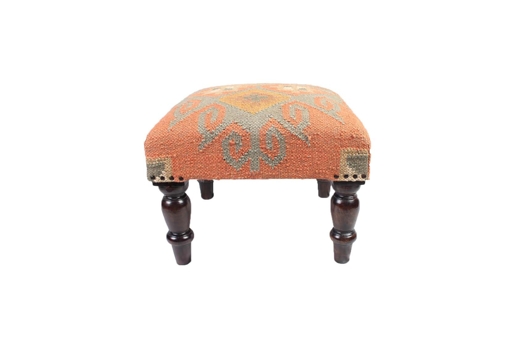Woven Upholstered Footstool