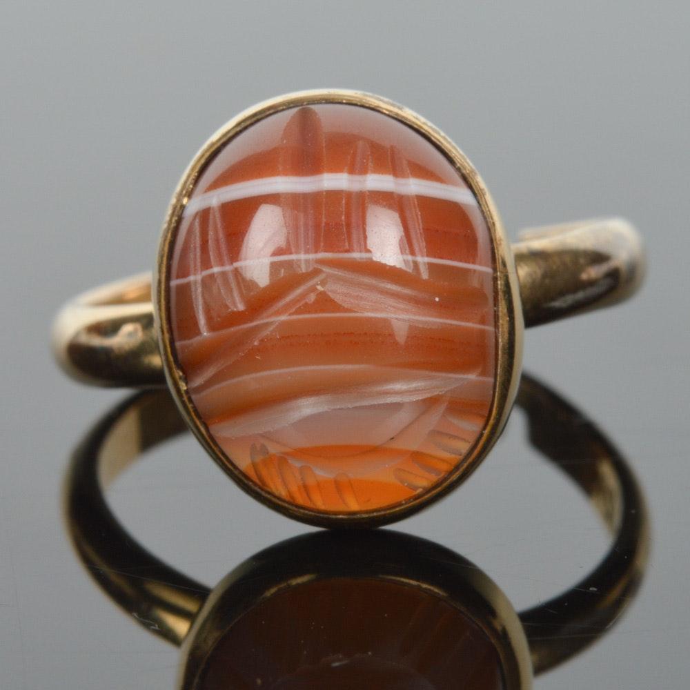 12K Gold Filled Scarab Agate Ring