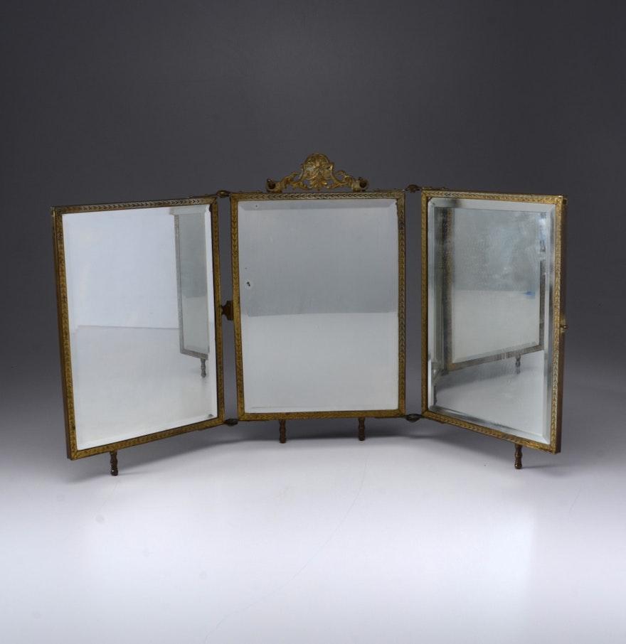 Victorian tri fold mirror wvxu ebth for Tri fold mirror